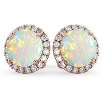 Halo Round Opal & Diamond Earrings 14k Rose Gold (3.17ct)