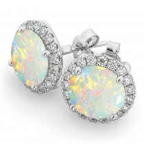 Halo Round Opal & Diamond Earrings 14k White Gold (3.17ct)