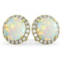 Halo Round Opal & Diamond Earrings 14k Yellow Gold (3.17ct)