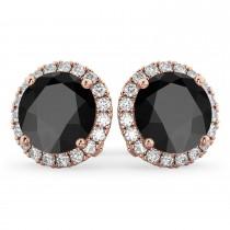 Halo Round Onyx & Diamond Earrings 14k Rose Gold (5.57ct)