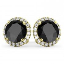 Halo Round Onyx & Diamond Earrings 14k Yellow Gold (5.57ct)