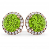 Halo Round Peridot & Diamond Earrings 14k Rose Gold (4.57ct)
