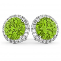 Halo Round Peridot & Diamond Earrings 14k White Gold (4.57ct)