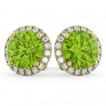 Halo Round Peridot & Diamond Earrings 14k Yellow Gold (4.57ct)