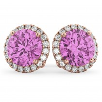 Halo Round Pink Sapphire & Diamond Earrings 14k Rose Gold (5.17ct)