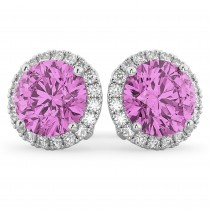 Halo Round Pink Sapphire & Diamond Earrings 14k White Gold (5.17ct)