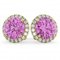 Halo Round Pink Sapphire & Diamond Earrings 14k Yellow Gold (5.17 ct)