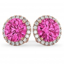 Halo Round Pink Tourmaline & Diamond Earrings 14k Rose Gold (4.57ct)