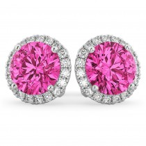 Halo Round Pink Tourmaline & Diamond Earrings 14k White Gold (4.57ct)