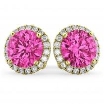 Halo Round Pink Tourmaline & Diamond Earrings 14k Yellow Gold (4.57ct)