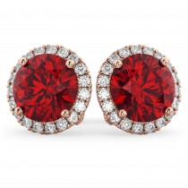 Halo Round Ruby & Diamond Earrings 14k Rose Gold (5.17ct)