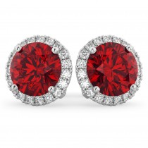 Halo Round Ruby & Diamond Earrings 14k White Gold (5.17ct)
