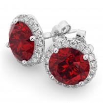 Halo Round Ruby & Diamond Earrings 14k White Gold (5.17ct)