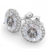 Halo Round Salt & Pepper Diamond & Diamond Earrings 14k White Gold (4.57ct)