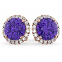 Halo Round Tanzanite & Diamond Earrings 14k Rose Gold (4.17ct)