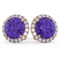 Halo Round Tanzanite & Diamond Earrings 14k Rose Gold (4.17ct)