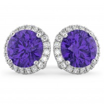 Halo Round Tanzanite & Diamond Earrings 14k White Gold (4.17ct)
