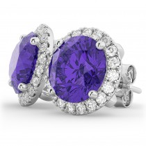 Halo Round Tanzanite & Diamond Earrings 14k White Gold (4.17ct)