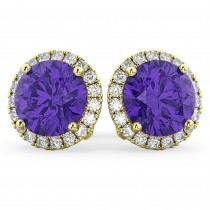 Halo Round Tanzanite & Diamond Earrings 14k Yellow Gold (4.17 ct)