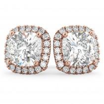 Halo Cushion Cut Diamond Stud Earrings 14k Rose Gold (3.10ct)