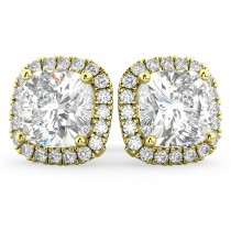 Halo Cushion Cut Diamond Stud Earrings 14k Yellow Gold (3.10ct)