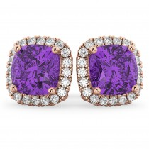Halo Cushion Amethyst & Diamond Earrings 14k Rose Gold (4.04ct)