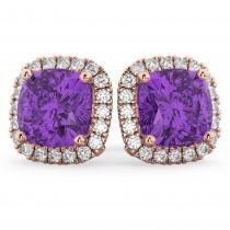 Halo Cushion Amethyst & Diamond Earrings 14k Rose Gold (4.04ct)