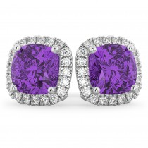 Halo Cushion Amethyst & Diamond Earrings 14k White Gold (4.04ct)