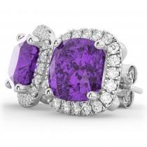 Halo Cushion Amethyst & Diamond Earrings 14k White Gold (4.04ct)