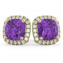 Halo Cushion Amethyst & Diamond Earrings 14k Yellow Gold (4.04ct)