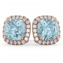 Halo Cushion Aquamarine & Diamond Earrings 14k Rose Gold (4.04ct)