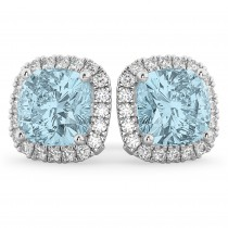 Halo Cushion Aquamarine & Diamond Earrings 14k White Gold (4.04ct)