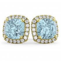 Halo Cushion Aquamarine & Diamond Earrings 14k Yellow Gold (4.04ct)