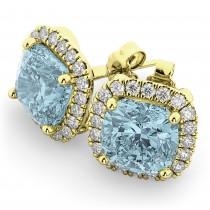 Halo Cushion Aquamarine & Diamond Earrings 14k Yellow Gold (4.04ct)