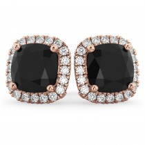 Cushion Cut Black Diamond & Diamond Earrings 14k Rose Gold (3.10ct)