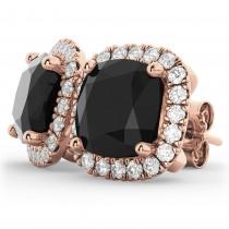 Cushion Cut Black Diamond & Diamond Earrings 14k Rose Gold (3.10ct)