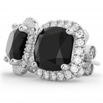 Cushion Cut Black Diamond & Diamond Earrings 14k White Gold (3.10ct)