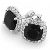 Cushion Cut Black Diamond & Diamond Earrings 14k White Gold (3.10ct)