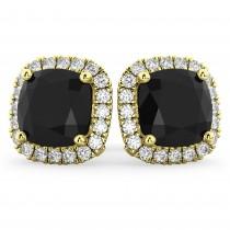 Cushion Cut Black Diamond & Diamond Earrings 14k Yellow Gold (3.10ct)