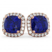 Halo Cushion Blue Sapphire & Diamond Earrings 14k Rose Gold (4.04ct)