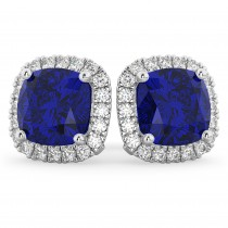 Halo Cushion Blue Sapphire & Diamond Earrings 14k White Gold (4.04ct)