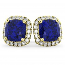 Halo Cushion Blue Sapphire & Diamond Earrings 14k Yellow Gold (4.04ct)