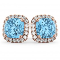Halo Cushion Blue Topaz & Diamond Earrings 14k Rose Gold (4.04ct)