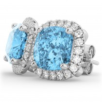 Halo Cushion Blue Topaz & Diamond Earrings 14k White Gold (4.04ct)