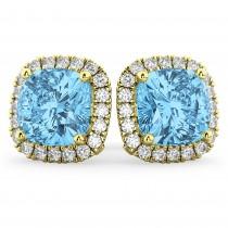 Halo Cushion Blue Topaz & Diamond Earrings 14k Yellow Gold (4.04ct)