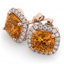 Halo Cushion Citrine & Diamond Earrings 14k Rose Gold (4.04ct)