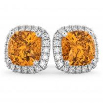 Halo Cushion Citrine & Diamond Earrings 14k White Gold (4.04ct)