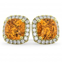 Halo Cushion Citrine & Diamond Earrings 14k Yellow Gold (4.04ct)