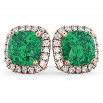 Halo Cushion Emerald & Diamond Earrings 14k Rose Gold (4.04ct)