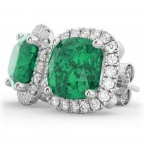 Halo Cushion Emerald & Diamond Earrings 14k White Gold (4.04ct)